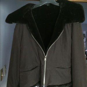 Ladies reversible faux fur bomber jacket